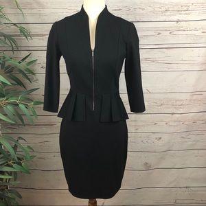 Elie Tahari Black Peplum Skirt Dress